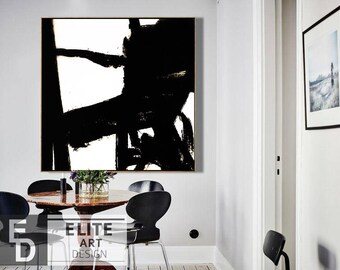 Black and White Art, Large Abstract Contemporary, Painting On Canvas, Original Painting, Abstract wall art, Painting Abstract, Palette knife