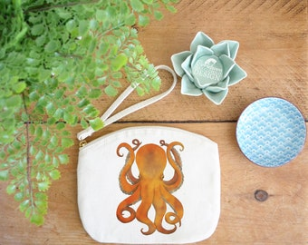 Octopus Canvas Zip Bag, Makeup Bag, Coin Purse, Small Accessory Pouch, Stocking Filler, Octopus Gift