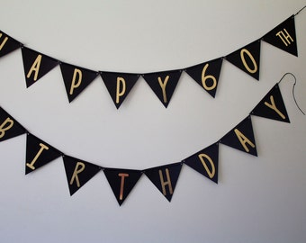 Birthday Party Banner - 60th Birthday Banner - Black and Gold Banner - 60th Birthday Party - Party Decor - 60th Party Decor