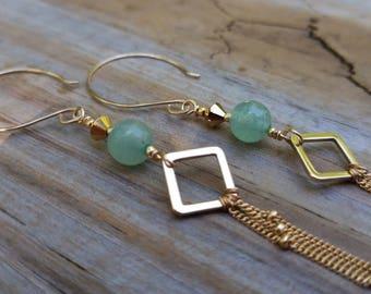 Waterfall 14k Gold-Filled Tassel Earrings with Green Aventurine + Swarovski Crystal