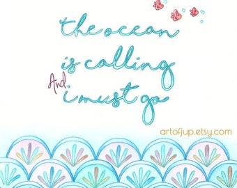 Wall art quote - watercolor quote, mermaid art print, home decor, ocean quote