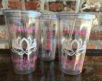 Lotus Design Wedding Party Tumbler 16 ounce