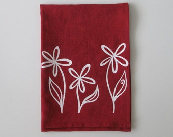 Linen Tea Towel - Flower Trio - Tea Towel - Choose your fabric and ink color