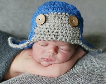 Baby Boy Aviator Hat, Crochet Baby Boy Hat, Newborn Aviator Hat, Newborn Boy Hat, Infant Aviator Hat, Boy Infant Hat, Blue