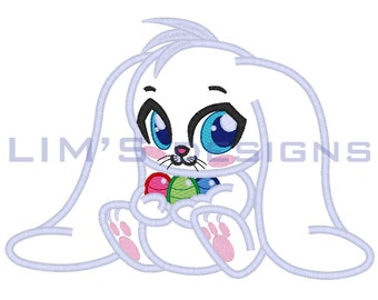"""Cute Easter Bunny applique machine embroidery design- 3 sizes 4x4"""", 5x7"""", 6x10"""""""