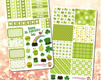 St. Patrick's Day / March / Green / Irish Theme Planner Stickers