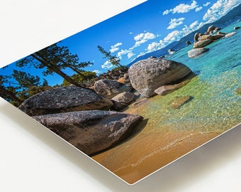 Metal Print, Lake Tahoe Photography, Lake Tahoe Metal Print, Extra Large Metal Print, Panoramic California Art Decor, Aqua Blue Home Office