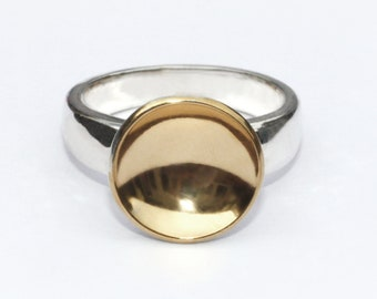 Gold cup and silver ring, Gold and silver ring, gold disc ring