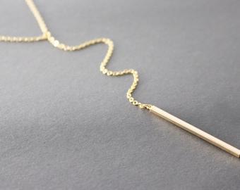 Bar Drop Necklace // Minimal Y Necklace // Bar Lariat Necklace