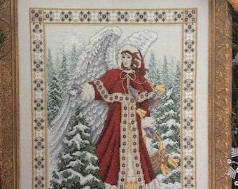 OOP HTF Angel of Frost Cross Stitch Pattern, Just CrossStitch 1995 CCS design by Teresa Wentzler 2220 winter angel