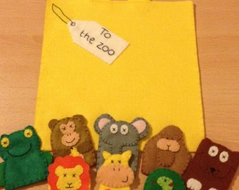 Dear zoo inspired puppet set, teaching resource, school, nursery, childminding prop, finger puppets with bag, story set, story sack, toys