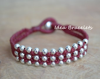 Red Hot Silver Double Layers Bracelet