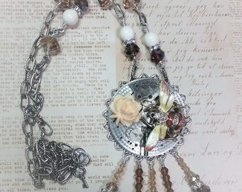 Bee Necklace/Steampunk Necklace/Pocket Watch Necklace/Assemblage Necklace