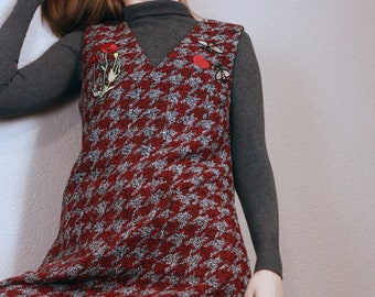Wool sleeveless dress or sarafan with patches and pockets