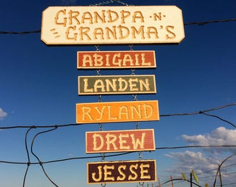 GRANDPA GRANDMA'S carved SIGN (38 dollars) Optional Grandkids signs to be attached(6 each add-on name)