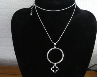 Designer inspired Necklace. snake chain. Silver plated. Rhinestones. Clover.