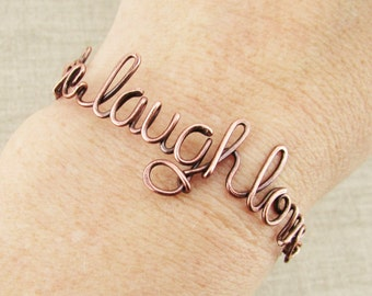 Oxidized Copper Word Bracelet, Live Laugh Love Bracelet, Word Jewelry, Copper Jewelry, Positive Inspiration Word Jewelry, Rustic Copper