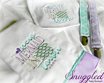 Mermaid Gift Set - Bib, Burp Cloth, Pacifier Clips