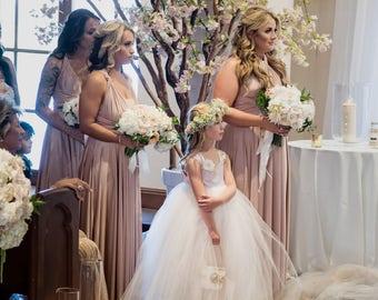 As Seen in Ceremony Magazine San Diego, Blush Satin, Flower Girl Dress, Floor Length, oliviakate.com, Full Length, Formal Wedding, Spring