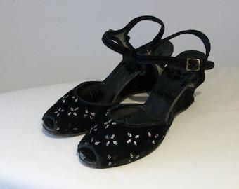 Darling 1950s velvet peep toe wedge sandals w/glitter flocking US 5 1/2 UK 3 1/2