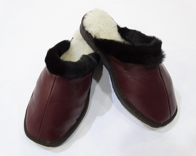 Women Slippers,Bordo Leather Slippers,Gift for Her F452