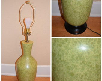 Vintage Mid Century Lamp, Retro Sage Green Mottled Glazed Abstract Lamp, 1960's Ceramic Table Lamp.