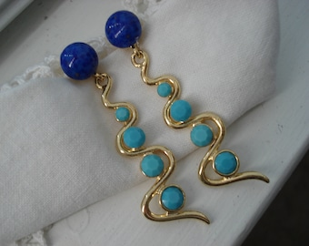 Vintage Lapis Lazuli and Sleeping Beauty Glass Rhinestones Statement Earrings Gold 1960's Art Deco