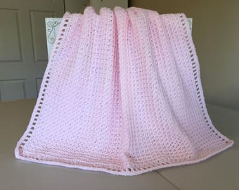 Crocheted Waffle Stitched Baby Afghan -Pink