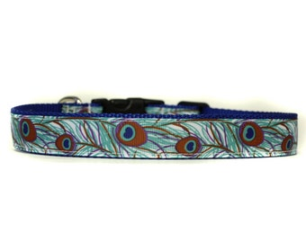 1 Inch Wide Dog Collar with Adjustable Buckle or Martingale in Peacock