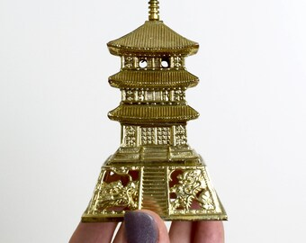 Vintage Japanese pagoda censer...dragon pagoda incense burner...gilt cast metal...Japanese incense burner.