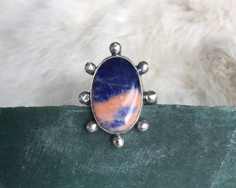 Peach and Indigo Sodalite and Sterling Silver Ring Size 7.5