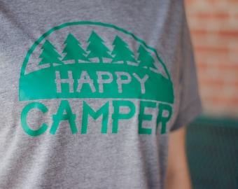 Happy Camper, Camping tshirt, summer shirt, cute shirt, shirts with sayings, Outdoor shirt, Camping, Wildlife, Wilderness, Camping