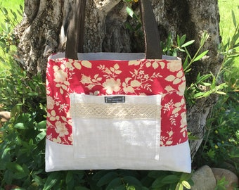 Bag trapezoid - floral Collection Mariette Marignan IV - Upcycling - pockets - vintage fabric