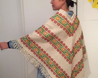 Vintage wool embroidered poncho