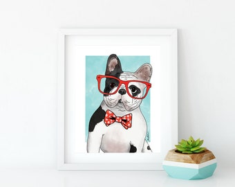 Dog Art Print, French Bulldog Art, Frenchie Wall Art, Dog Lover Gift, Pet Portrait, Dorm Decor, Home Decor, Office Decor, Nursery Art