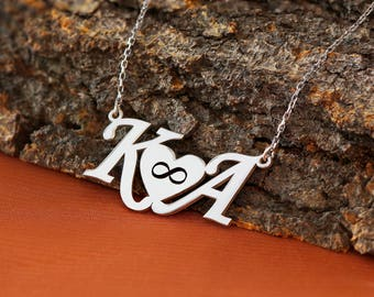 Personalized Initial Letter Necklace, Letter Necklace, Love Necklace, Family Necklace, Silver Necklace, Gold, Rose, Gift