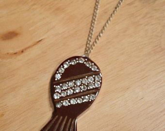 ON SALE Upcycled 1930s Bakelite Rhinestone Pineapple Necklace