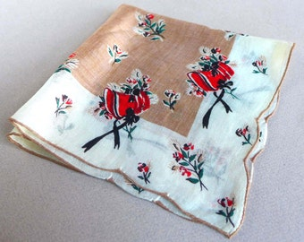 Vintage Womens Handkerchief Tan Background White Border Red Bonnets Black Bows Flowers Floral Print Fine Linen 1940s 1950s