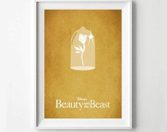 Disney Beauty and the Beast Movie Poster - Minimalist print, Digital Art Print