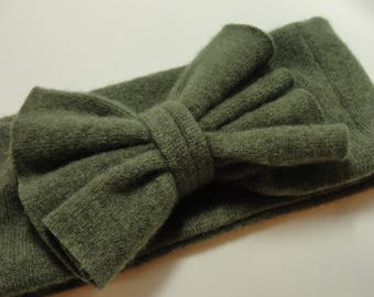 Upcycled Green Cashmere Earwarmer Headband with Bow
