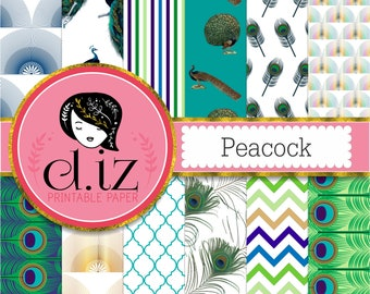Peacock digital paper, peacock scrapbook paper backgrounds 12 papers of peacock patterns