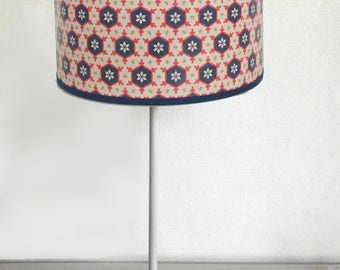 SMALL LAMPSHADE PATTERN VINTAGE ECRU AND BLUE