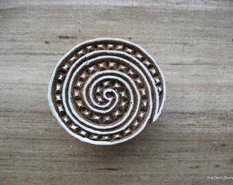 Spiral Stamp / Block Print Stamp / Wooden Printing Stamp