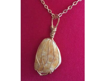 Orange Calcite Pendant, Handmade, Wire Wrapped Crystal (Copper Wire #1)