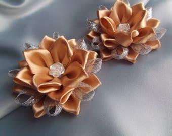 tsumami kanzashi hair clip flower fabric flowers girl bow flower kanzashi hair accessories baby hair clips girl handmade flower brown