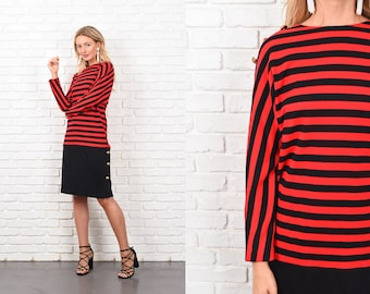 Vintage 80s Red + Black Bold Striped Print Sweaterdress knit Dress Slouchy M 10341