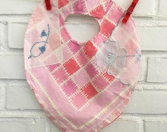 Pink Handkerchief Baby Bib Modern pink block print, Embroidered Flowers Hanky Bib for Baby, pink bib, blue flower