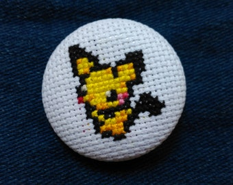 Pokemon cross stitch cover button pin back button