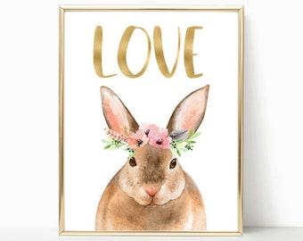 Bunny Rabbit, Nursery animals, Nursery art, printable wall art, Nursery decor, pink gold nursery, woodland nursery, Nursery wall decor, art