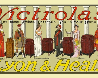 Reproduced Vintage Lyon & Healy, Chicgo Ad for the Victor Talking Machine Company's Victrola Phonograph Canvas Print